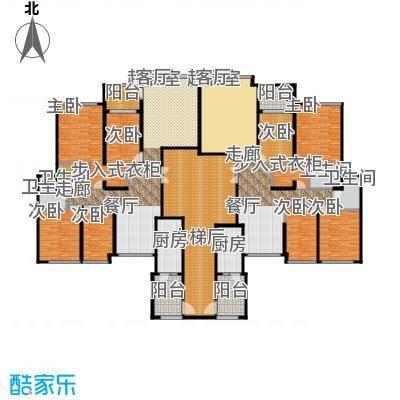 恒大华府183.00㎡3栋2单元标准层平面示意图户型8室4卫2厨