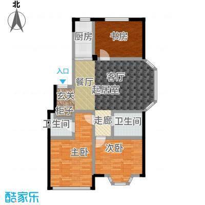 颐莲家园106.00㎡F户型3室2厅2卫