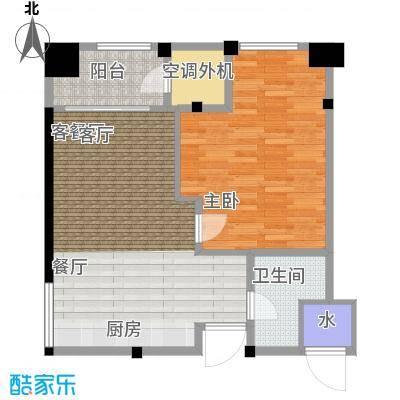 新城帝景65.00㎡65平米1室2厅1卫户型1室2厅1卫