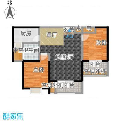 盛辉仕林东湖户型2室1卫1厨