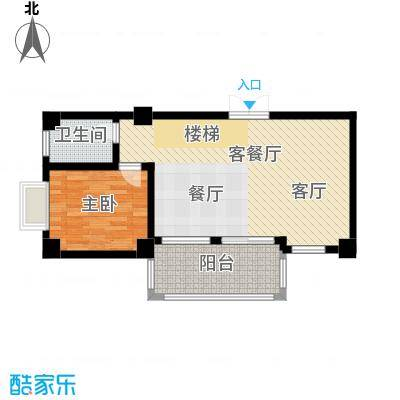 汇丰国际度假公寓B一房两厅一厨一卫户型