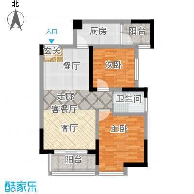 渝开发上城时代1户型2室1厅1卫1厨