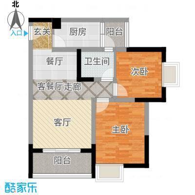 渝开发上城时代4户型2室1厅1卫1厨