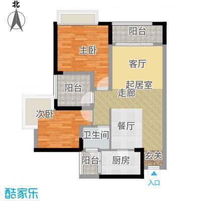 重庆巴南万达广场单卫带院馆户型2室1卫1厨