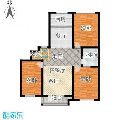 枫合万嘉123.00㎡户型2室2厅1卫