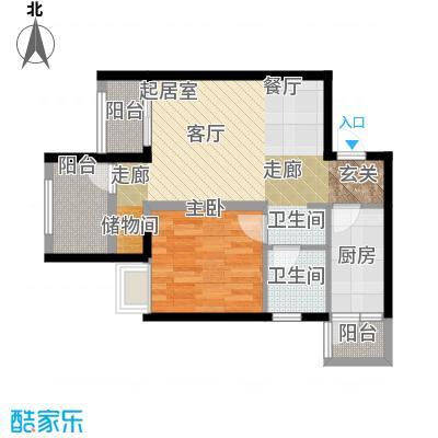 重庆巴南万达广场单卫带院馆户型1室1卫1厨