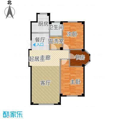 三鼎春天107.00㎡三室两厅一卫107平米户型图户型3室2厅1卫