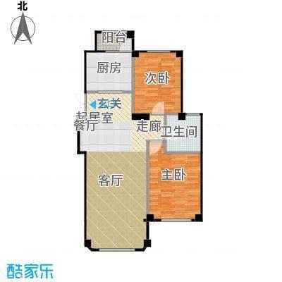 三鼎春天96.00㎡两室两厅一卫96平米户型图户型2室2厅1卫