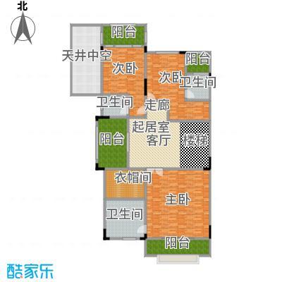晋愉碧怡林畔东岸452.00㎡宽底双拼别墅A2销售二层户型3室3卫