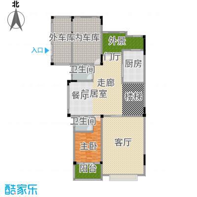 晋愉碧怡林畔东岸宽底双拼别墅A2销售一层户型1室1厅2卫1厨