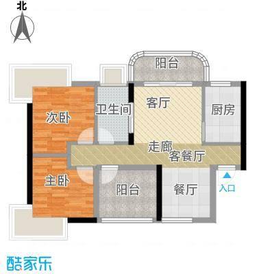 桂丹颐景园88.00㎡蝶苑1座01单元/2座04单元户型2室1厅1卫1厨