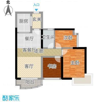 桂丹颐景园90.00㎡蝶苑1座/2座02/03单元户型3室1厅1卫1厨