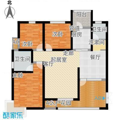 都市花园119.00㎡三室两厅两卫户型3室2厅2卫