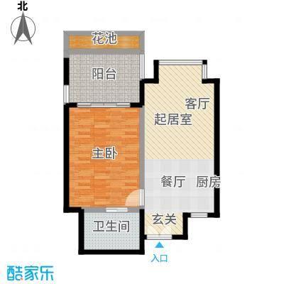 安富・雨林海68.78㎡B户型1室1厅1卫
