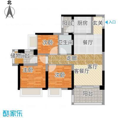 万荟时代89.55㎡6座04单元户型3室1厅1卫1厨