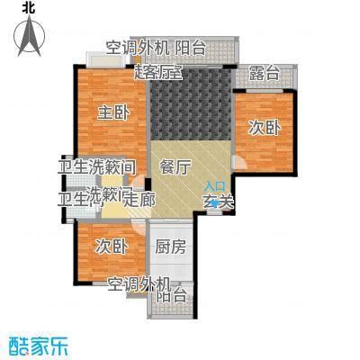 金星阳光格林132.37㎡H户型3室2厅2卫