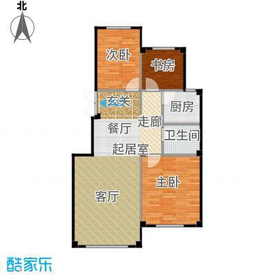 三鼎春天94.00㎡三室两厅一卫94平米户型图户型3室2厅1卫