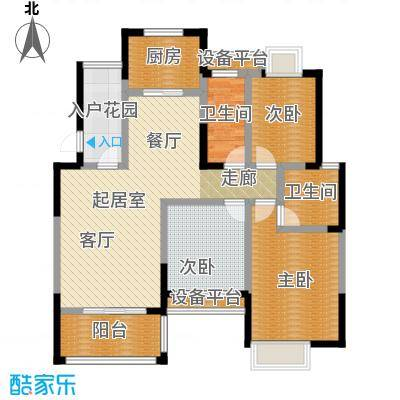 丰源国际御�台121.20㎡121.22平米的三居室户型3室2厅2卫