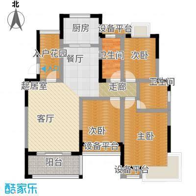 丰源国际御�台121.22㎡121.22平米的三居室户型3室2厅2卫