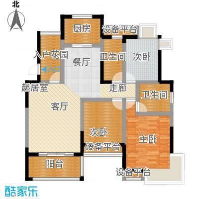 丰源国际御�台120.44㎡120.44平米的三居室户型3室2厅2卫