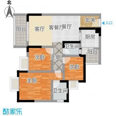 渝开发上城时代2户型3室1厅2卫1厨