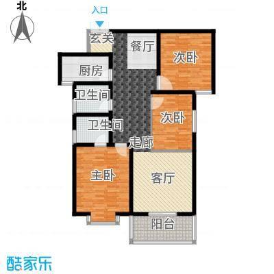 东方明珠3室2厅2卫1厨1阳台121.79㎡户型3室2厅2卫