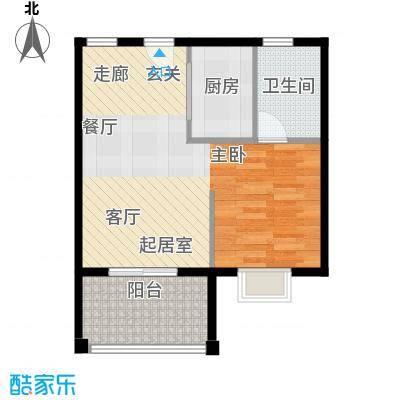 吉粮康城56.32㎡Ⅳ户型1室2厅1卫