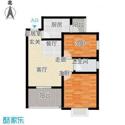 吉粮康城79.36㎡1-b-05房户型图 2室2厅1卫户型2室2厅1卫