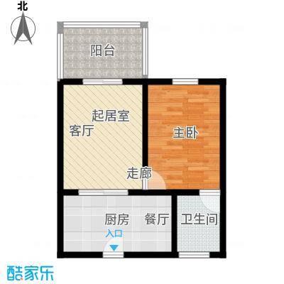 吉粮康城51.59㎡1-f-06房户型图 1室1厅1卫户型1室1厅1卫