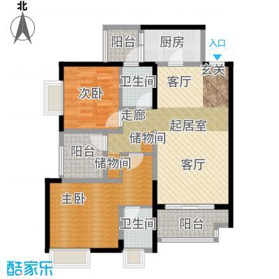 重庆巴南万达广场双卫带院馆户型2室2卫1厨