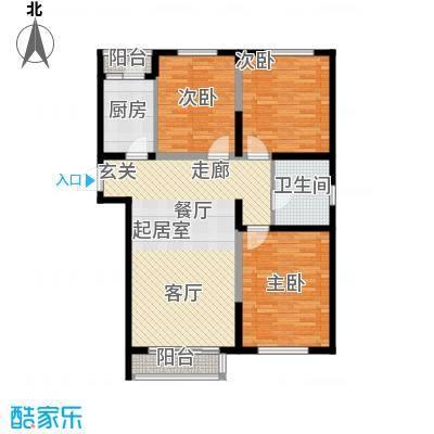 威高花园105.00㎡山盟婚房户型3室2厅1卫