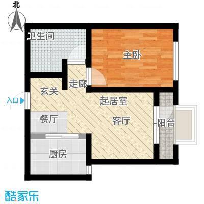 大连玉龙湾55.00㎡C1.2-B1一室二厅一卫户型1室2厅1卫