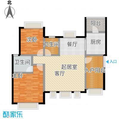 半山七号15号楼8FC8户型2室2卫1厨