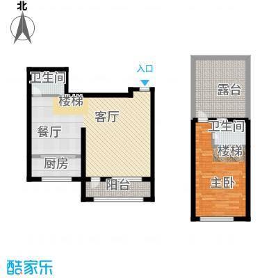 鸿博颐景花园74.98㎡上下跃层户型10室