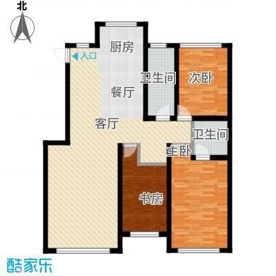 鸿博颐景花园109.06㎡D户型3室2厅2卫