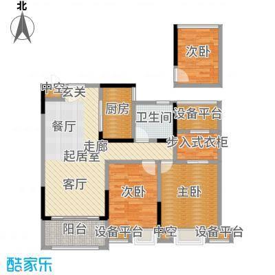 恒厚阳光城92.00㎡B1户型 建面约92平米户型3室2厅1卫
