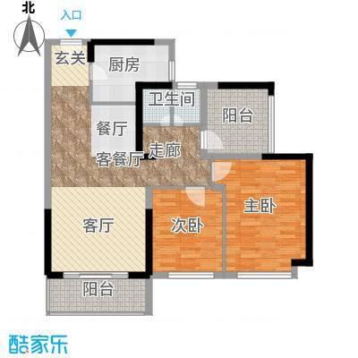 坪山招商花园城89.50㎡户型2室1厅1厨