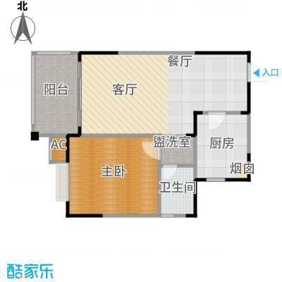 中央绿园63.65㎡N户型/1号楼户型1室1厅1卫