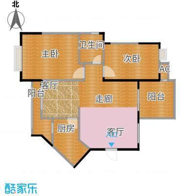 中央绿园86.34㎡L户型/1号楼户型2室2厅1卫