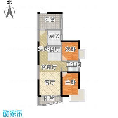 桂丹颐景园93.90㎡悦湖02/03单位户型2室1厅1卫1厨