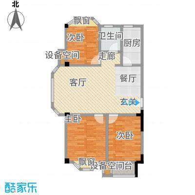 龙城天地二期89.40㎡A户型三室两厅一厨一卫户型3室2厅1卫