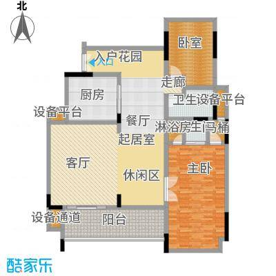 华润・石梅湾九里139.00㎡B1户型 两房三厅两卫户型2室3厅2卫