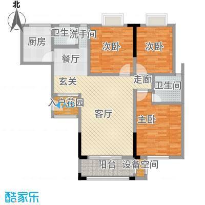龙城天地二期103.33㎡B户型三室两厅一厨两卫户型3室2厅2卫
