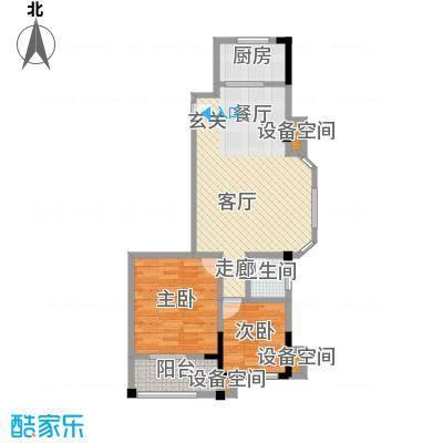 龙城天地二期76.00㎡E户型两室两厅一厨一卫户型2室2厅1卫