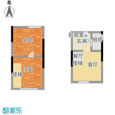 筑石派B3两室两厅一卫33.40平户型2室2厅1卫