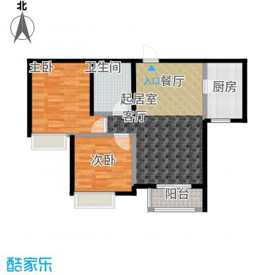 大连天地・悦丽海湾B13R3二层户型2室1卫1厨