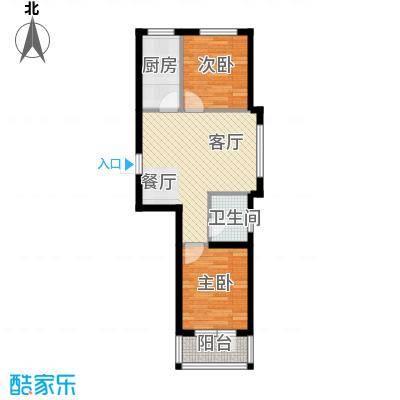 龙潭官邸63.00㎡E户型2室2厅1卫