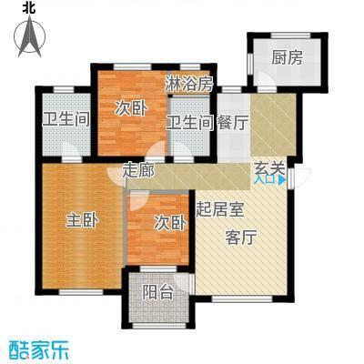 欧尚广场113.00㎡B户型113平米 三室两厅两卫户型图户型3室2厅2卫