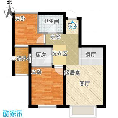 欧尚广场70.00㎡K户型两室两厅一卫70平米户型图户型2室2厅1卫