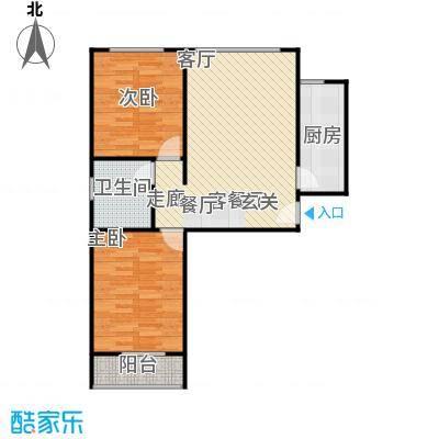左岸春天91.74㎡两室两厅一卫91.74平米B户型2室2厅1卫